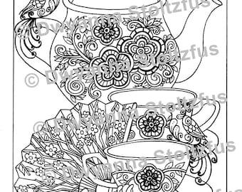Oriental Tea Set Coloring Page PDF