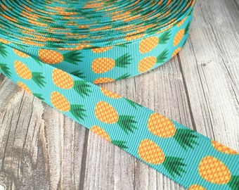 Pineapple grosgrain ribbon - Fruit ribbon - Tropical fruit - Tropical ribbon - Hawaiian ribbon - Crafting ribbon - Craft supply - Pretty