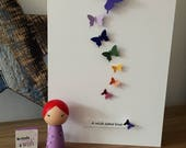 Adoption celebration card. Rainbow of butterflies