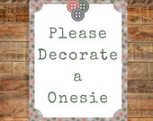 Cute as a Button Baby Shower Decorate A Onsie Sign