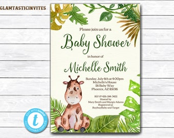 Giraffe Baby Shower Invitation, Safari Baby Shower Invitation, Jungle Baby Shower Invitation, Baby Shower Invite, Baby Shower Template