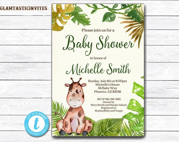 Giraffe Baby Shower Invitation, Safari Baby Shower Invitation, Jungle Baby Shower Invitation, Baby Shower Invite, Baby Shower Template
