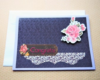 Sophisticated deep purple floral Congrats card--weddings, engagements, anniversary, all occasions