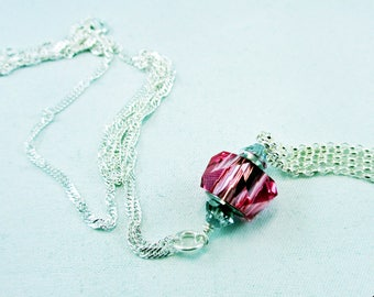 Sterling Silver Necklace/Swarovski Crystal Pendant/Pink Pendant/OOAK/Unique Design/Graduation/Birthday/Anniversary/Sweet 16/Gift for Her