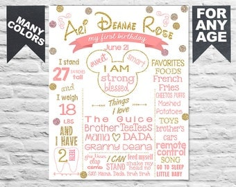 Printable Pink and Gold Minnie Mouse Birthday board - Minnie white chalk board 1st 2nd 3rd b-day party - First Birthday minnie sign (335)