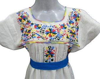 Mexican Dress Embroidered Dress Boho Dress Festival Dress Summer Dress Party fits medium to large L53