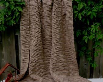 Blanket / Chunky Crochet Taupe Blanket / Taupe Blanket / Throw Blanket / Taupe Crochet Blanket / Crochet Blanket / Chunky Blanket