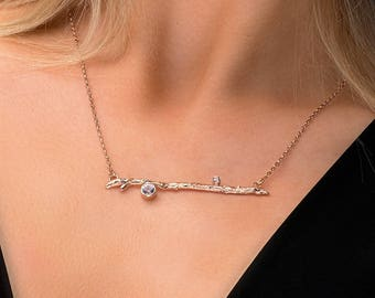 Handmade Silver and Topaz Twig Necklace, Rose Gold Branch Necklace, White Topaz twig necklace, white Topaz Branch necklace, Twig Jewellery