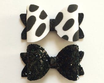 Black and White Fabric Glitter Hair Bow