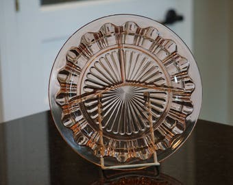 Pink Depression Glass Divided Plate
