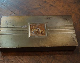 Metal Cigarette Box with Borzoi Hounds/ Bas Relief Copper Borzoi Hounds/ Shabby Chic
