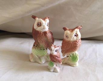 Vintage Set of Three Miniature Owl Figurines