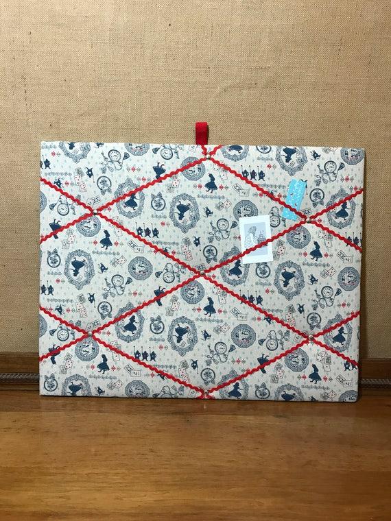 Memo Board in Alice in Wonderland Style Fabric, Pretty Notice Board, Photo Holder, Red and Blue Decor, Girls Room Decor, Large 60cm x 50cm