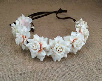 Flower Headband--White Rose Headband--Floral Hairpiece--Rose Crown--White and Peach Flower Headband--Bridal Accessories