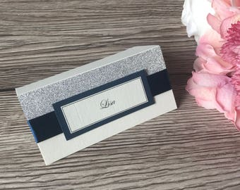 Glitter place cards, half glittered place setting x10, wedding name cards, name settings, wedding stationery