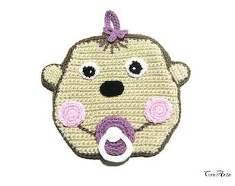 Ecrù and Brown crochet baby monkey potholder, presina marrone ed ecrù baby scimmia ad uncinetto