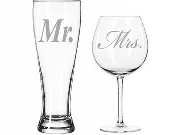 Mr. Pilsner Beer Glass and Mrs. Wine Glass Set