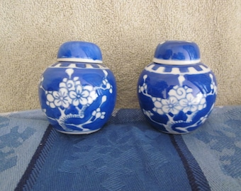 Chinese Vintage Hand Painted  Ginger Jars Blue White Pumus Blossoms Rare  Circle Blue China Markings