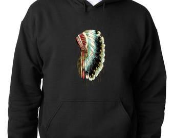 HOODIENative American Headdress Hoodie Skull DreamCatcher Sweatshirt