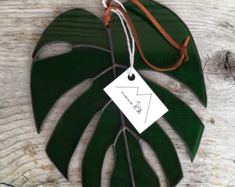 Stained Glass Monstera Plant Leaf Suncatcher