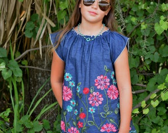 Boho Embroidered Top, Denim Top, Bohemian, Peasant Blouse, Kids clothing, Girls clothes, Off the Shoulder, Teens,