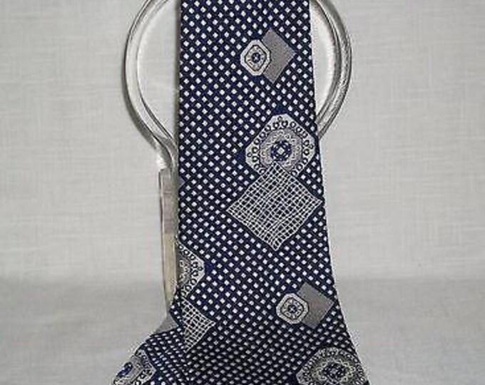 Vintage 70s Mens Gentleman Blue White Silk Geometric Short Wide Necktie Neck Tie