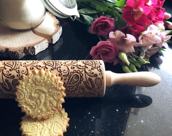 FLORAL PAISLEY rolling pin, embossing rolling pin, engraved rolling pin by laser