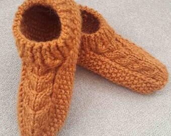 Slippers knitted Slippers women Hand knit socks.