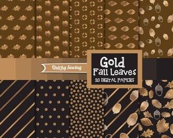 Gold Foil Autumn Digital Paper, Glitter Leaves Paper, Fall Digital Paper, Gold Autumn Paper, Thanksgiving Paper, Fall Paper, Fall Paper Pack