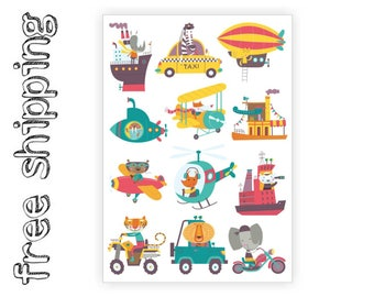 "Temporary tattoos ""Journey"". Travel themed kids body stickers set with animals on transport:fox, croco, cat, bear, tiger, lion,  TA052"