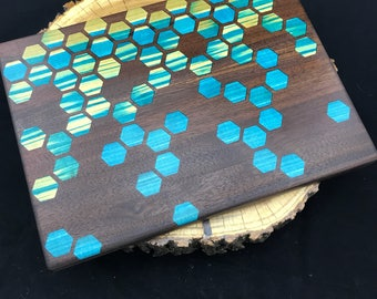 Large Honeycomb inlay Cutting board- Walnut with Blue Poplar/Ash Pattern #9