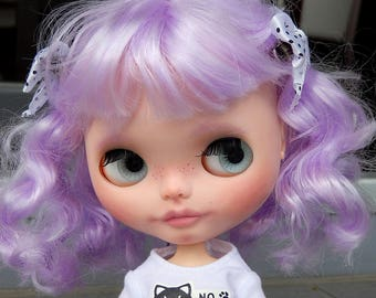 Custom Basaak doll with Pure Neemo body, Blythe clone, ooak - violet curly hair