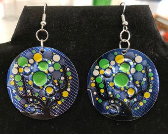 Hand Embissed Upcycled Brisk Tea Can Earrings