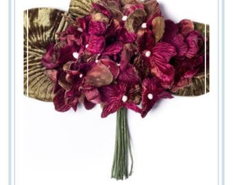 burgundy velvet posy. hydrangea posy. velvet hydrangea posy. millinery flowers. velvet flowers.