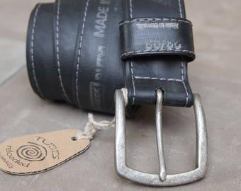 Biker Belt/upycling belt made of bicycle hose/black with print/95 cm waist circumference