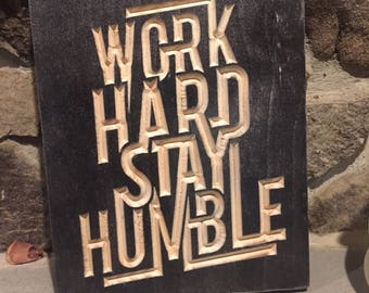 Motivational Carved Typography Sign