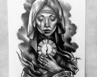 praying woman tattoo/temporary tattoo