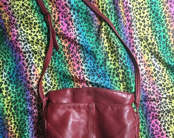 SALE Vintage oxblood red 1970s 1980s leather purse shoulder bag hipster