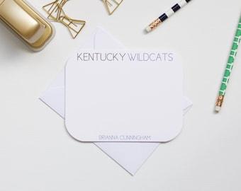 Personalized Stationery, Kentucky Stationery, Kentucky Wildcats, Collegiate Stationery, College Stationery, Custom Stationery, Flat Notecard