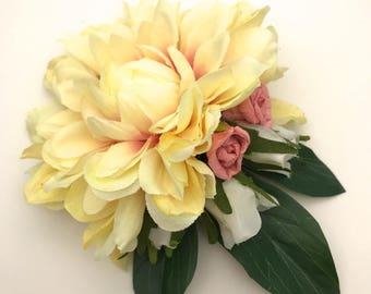 Handmade Cream Dahlia & Rose Bud Brooch / Corsage