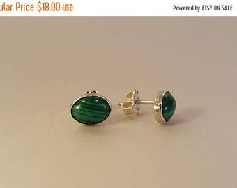25% Off Entire Store - Oval Malachite and Sterling Silver Stud Earrings