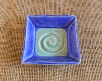 Cobalt Blue Aqua Mint Spiral Candle Plate, Square Plate, Altar Plate, Offering Dish