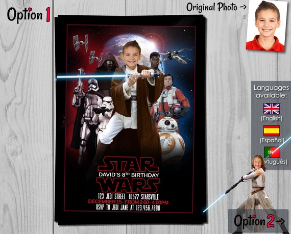 Star Wars Invitation - The Last Jedi Birthday Invite with customizable photos - Jedi Boy and Jedi Girl