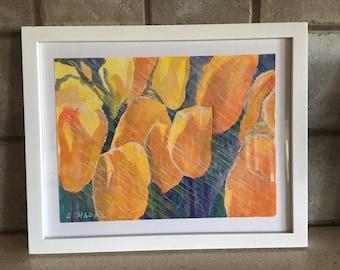 Yellow Tulips in Rain