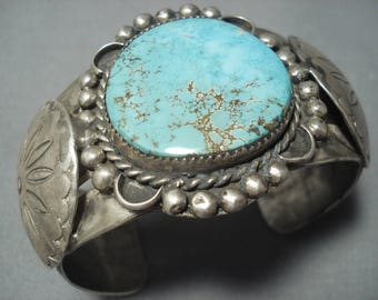 Very Rare Vintage Navajo Red Mountain Turquoise Sterling Silver Bracelet Cuff