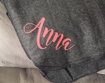 Personalized fleece blanket, fleece blnaket, personalized blanket, personalized throw blanket, bridal gift, soft and cozy blanket, newlyweds