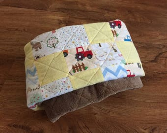 Farm Tractor Baby Boy Quilt | Crib Quilt | Nursery Decor | Crib Comforter | Country Soft Baby Blanket