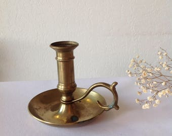 French large candlestick thumb in brass, Brass candlestick, antique, Bohemian chic Rough