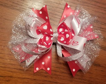 Girl 4 inch Valentines day boutique stacked hairbow with clip