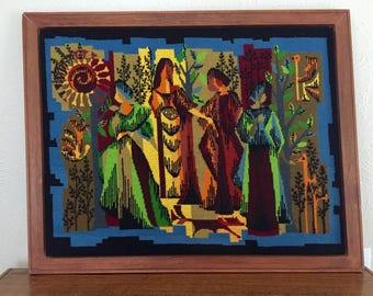 Vintage Needlepoint Tapestry ''THE FOUR SEASONS'' Les Quatre Saisons